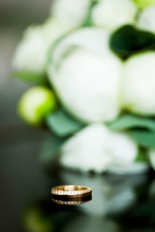 Bryllupsfotograf – vielsesring og brudebuket