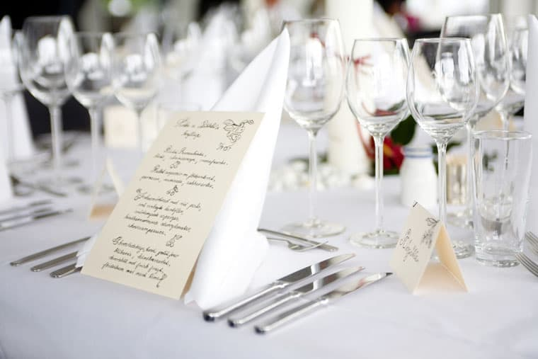 Bryllup – borddækning
